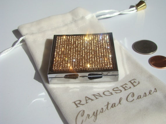 Pill Case, Pill Container, Pill Box with Rose Gold Rhinestone Crystals, Silk/Velvet bag incluede. Genuine Rangess Crystal Cases