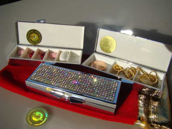 Pill Case, Pill Box , Crystal AB Rhinestone Crystals,  This listing are for one (1) case