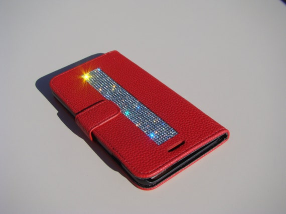 iPhone 6 Plus / 6s  Plus Clear Diamond Crystals on Red Wallet Case. Velvet/Silk Pouch bag Included, .