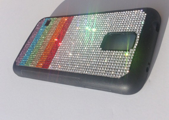 "Galaxy S5 Rainbow "" PRIDE "" Rhinestone Crystals on Black Rubber Case. Velvet/Silk Pouch Bag Included, Genuine Rangsee Crystal Cases"