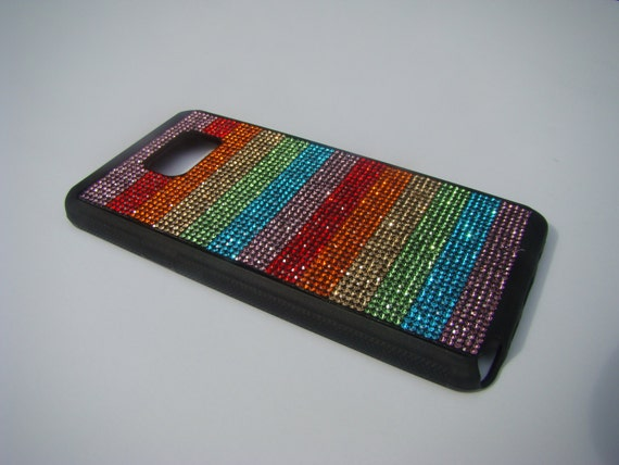 "Galaxy Note 5 Rainbow "" PRIDE New"" Rhinestone Crystals on Black Rubber Case. Velvet/Silk Pouch Bag Included, Genuine Rangsee Crystal Cases"