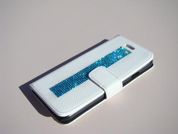 "iPhone 6 / 6s 4.7"" Aquamarine Blue Rhinestone Crystals, White Wallet Case. Velvet/Silk Pouch bag Included, Genuine Rangsee Crystal Cases."