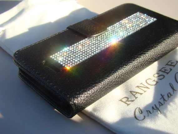 iPhone SE Case /5/ 5s Clear Rhinestone Crystals on Black Wallet Case. Velvet/Silk Pouch bag Included, Genuine Rangsee Crystal Cases.
