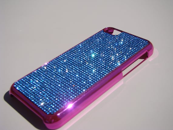 iPhone 5C Blue Sapphire Rhinestone Crystals on Pink Chrome Case. Velvet/Silk Pouch Bag Included, Genuine Rangsee Crystal Cases.