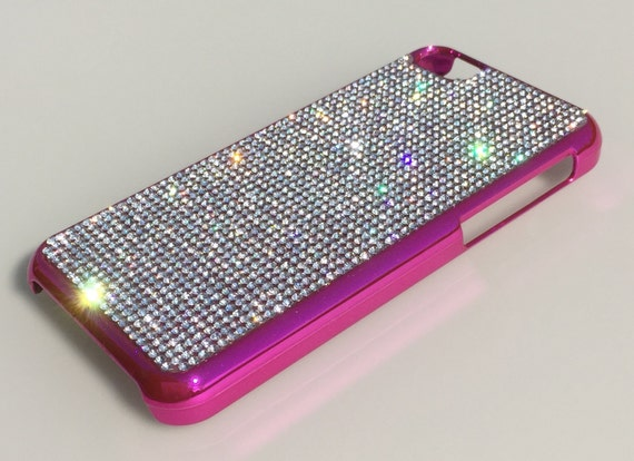 iPhone 5C Clear Diamond Crystals on Pink Electro Plated Plastic Case. Velvet/Silk Pouch Bag Included, Genuine Rangsee Crystal Cases.