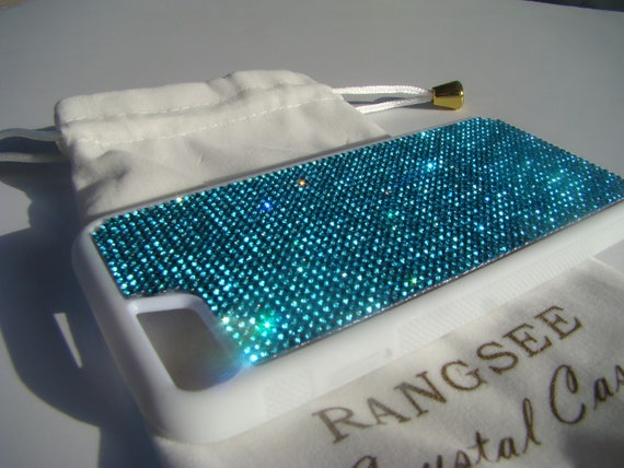 iPhone 8 Case / iPhone 7 Case Aquamarine Blue  Rhinestone Crystals on  White Rubber . Velvet/Silk Pouch Bag Included,