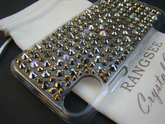 "iPhone X case, "" Millionaire Case "" Gold, Silver, Bronze & Crystal AB Crystals on Clear Rangsee Crystal Cases"