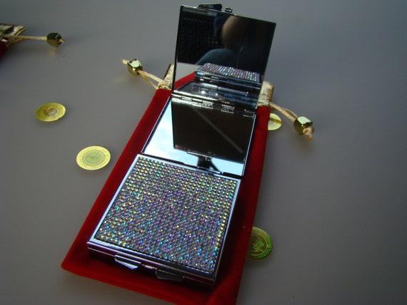 Mirror Box with Crystal AB Rhinestone Crystals. Genuine Rangess Crystal Cases