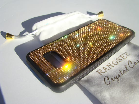Galaxy s8 Plus Case / Galaxy s8+ Case,  Gold Topaz Crystals on Black Rubber Case. Velvet/Silk Pouch Bag Included,