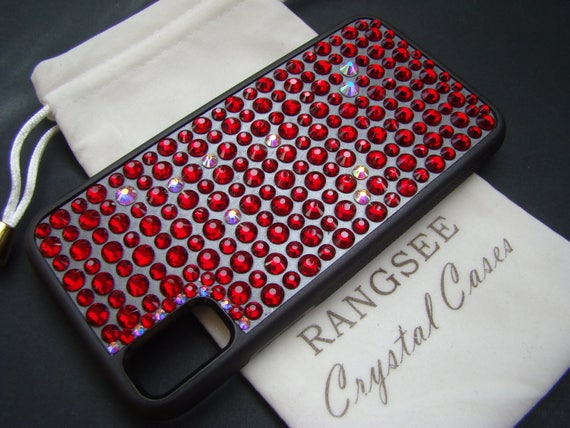 iPhone X case, Capricorn Red Siam Rhinestone Crystals on Black Rubber Case Rangsee Crystal Cases