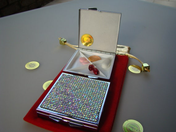 Pill Case, Pill Box square 4 slots , Crystal AB Rhinestone Crystals,  This listing are for one (1) case