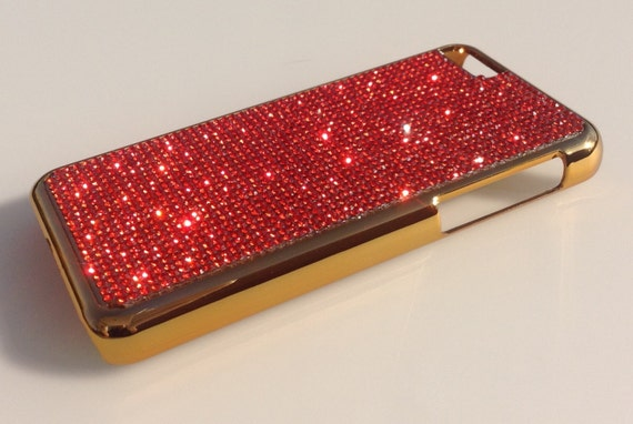 iPhone 5C Red Diamond Crystals on Gold-Bronze Electro Plated Plastic Case. Velvet/Silk Pouch Included, Genuine Rangsee Crystal Cases.