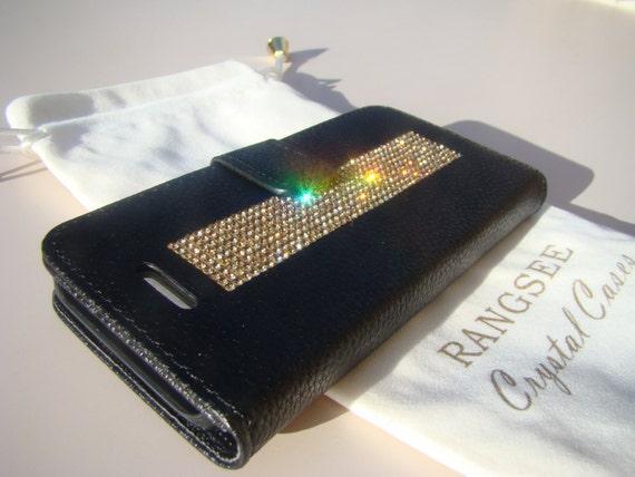 iPhone SE Case /5/ 5s Gold Topaz Crystals on Black Wallet Case. Velvet/Silk Pouch bag Included, Genuine Rangsee Crystal Cases.