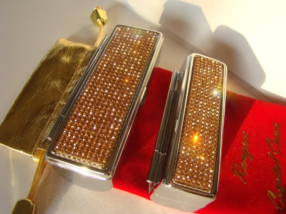 Lipstick Case with Mirror, Lipstick Box, Lipstick Holder, Rose Gold Rhinestone Crystals,  This listing are for one (1) case