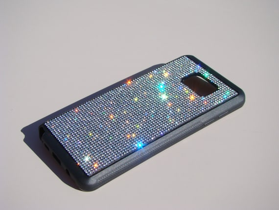 Galaxy Note 5 Clear Diamond Rhinestone Crystals on Black Rubber Case. Velvet/Silk Pouch Bag Included, Genuine Rangsee Crystal Cases