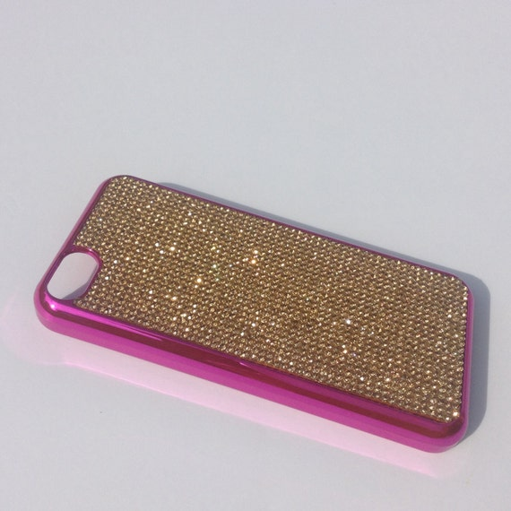 iPhone 5C Gold Topaz Rhinestone Crystals on Pink Chrome Case. Velvet/Silk Pouch Bag Included, Genuine Rangsee Crystal Cases.