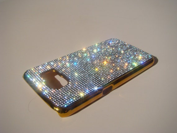 Galaxy S6 Clear Diamond Crystals on Gold-Bronze Electro Plated Plastic Case. Velvet/Silk Pouch Bag Included, Genuine Rangsee Crystal Cases.