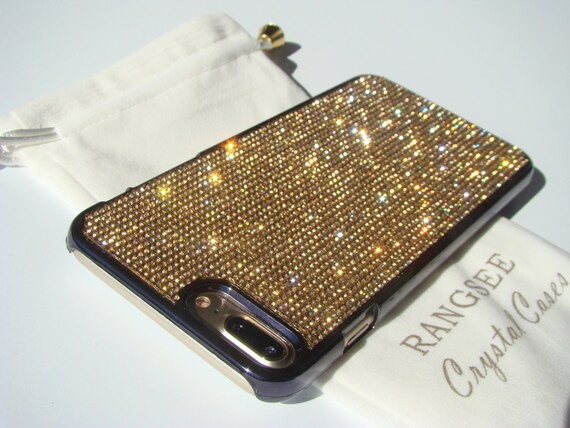 iPhone 8 Plus Case / iPhone 7 Plus Case Gold Topaz Diamond Rhinestone Crystals on Black Chrome Case. Velvet Pouch Included,