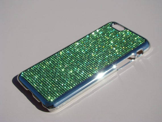 "iPhone 6 / 6s 4.7"" Peridot Green Rhinestone Crystals on Silver Chrome Case. Velvet/Silk Pouch Included, Genuine Rangsee Crystal Cases."