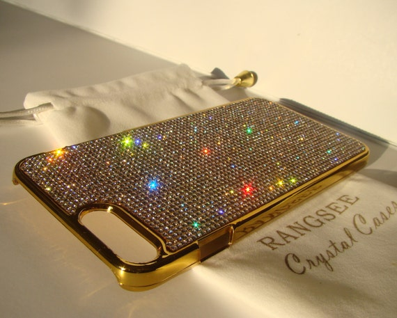 "iPhone 8 plus case / iPhone 7 plus Case Clear Diamond "" Gold Edition ""  Rhinestone Crystals on Gold Chrome Case. Velvet Pouch Included,"