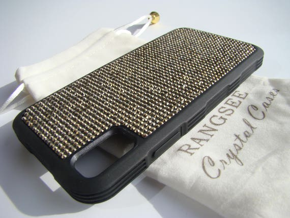 "iPhone Xs  Case , Gold Dorado Rhinestone Crystals on Black ""Tire"" Rubber Case. Velvet/Silk Pouch Bag Included, ."