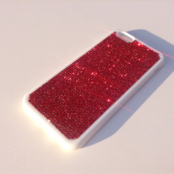 "iPhone 6 / 6s 4.7"" Siam Red Rhinestone Crystals on White Rubber Case. Velvet/Silk Pouch Bag Included, Genuine Rangsee Crystal Cases"