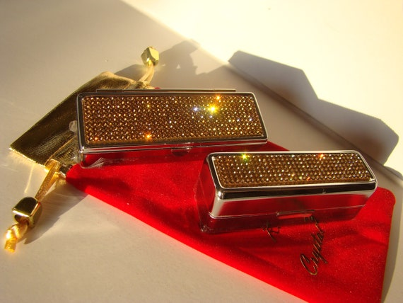 Lipstick Case with Mirror, Lipstick Box, Lipstick Holder, Gold Topaz Rhinestone Crystals,  This listing are for one (1) case