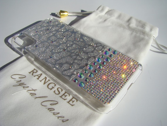 iPhone X Case Rangsee Evolution Crystal AB Rhinestone Crystals on Transparent Clear iPhone X Case. Velvet Pouch Included,