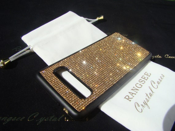 Galaxy S10 Case, Case Gold Topaz Rhinestone Crystals on Black TPU Rubber Case. 14 crystal Colors avalible.