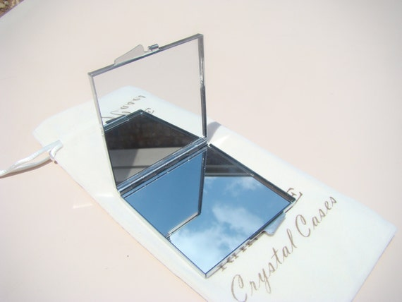 Mirror Box with Rose Gold Rhinestone Crystals, Silk/Velvet bag included. Genuine Rangess Crystal Cases
