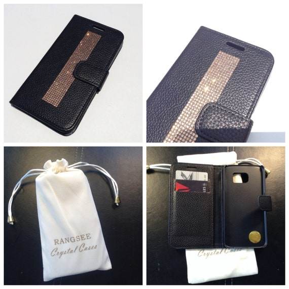 Galaxy S6 Rose Gold Diamond Crystals on Black Wallet Case. Velvet/Silk Pouch bag Included, Genuine Rangsee Crystal Cases.