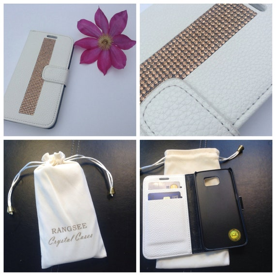 Galaxy S6 Rose Gold Diamond Crystals on White Wallet Case. Velvet/Silk Pouch bag Included, Genuine Rangsee Crystal Cases.