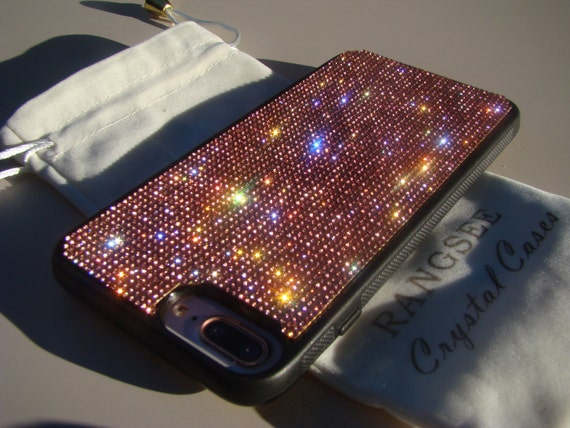 "iPhone 7 Plus / 8 Plus Pink Rhinestone Crystals on Black Rubber Case. ""Rose Gold Edition"", Genuine Rangsee Crystal Cases."
