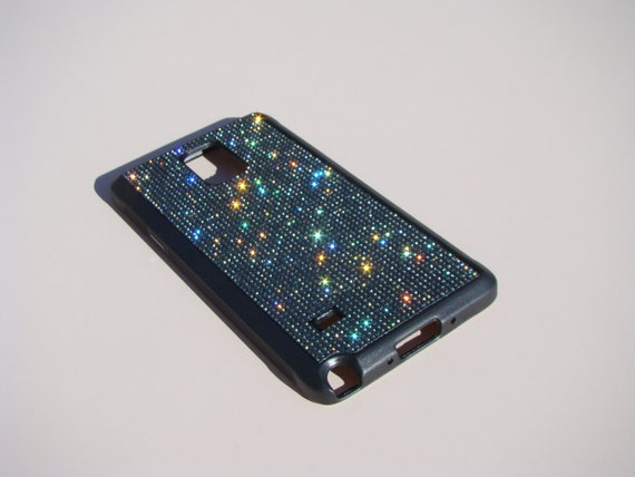 Galaxy Note 4 Black Diamond Rhinestone Crystals on Black Rubber Case. Velvet/Silk Pouch Bag Included, Genuine Rangsee Crystal Cases