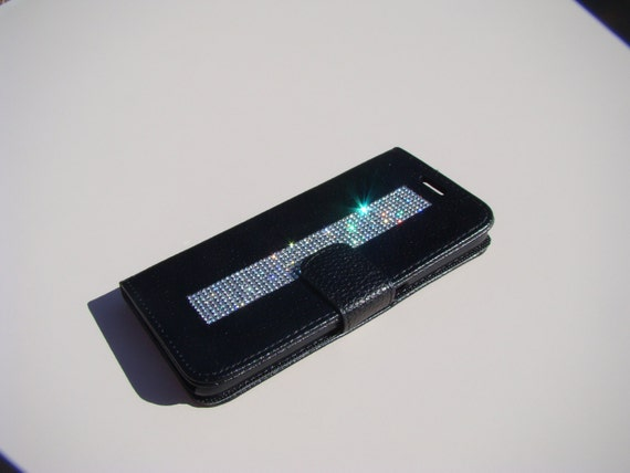 Galaxy S6 Clear Rhinestone Crystals on Black Wallet Case. Velvet/Silk Pouch bag Included, Genuine Rangsee Crystal Cases.