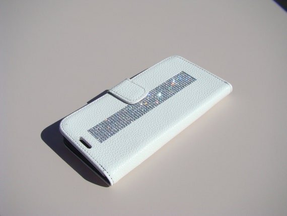 "Galaxy S6  "" Edge "" Clear Diamond Rhinestone Crystals on White Wallet Case. Velvet/Silk Pouch bag Included, Genuine Rangsee Crystal Cases."