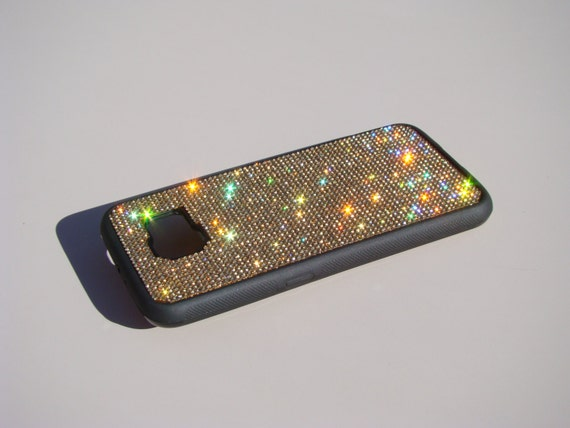 Galaxy S6 Gold Topaz Crystals on Black Rubber Case. Velvet/Silk Pouch Bag Included, Genuine Rangsee Crystal Cases.