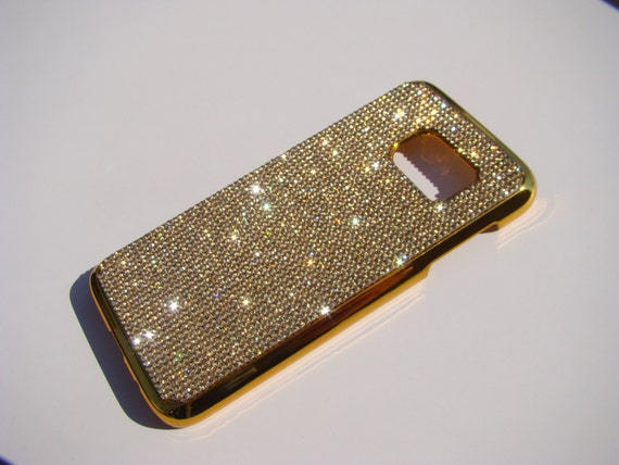 Galaxy S7 Case Gold Topaz Crystals on Gold-Bronze Chrome Case. Velvet/Silk Pouch Bag Included, Genuine Rangsee Crystal Cases.