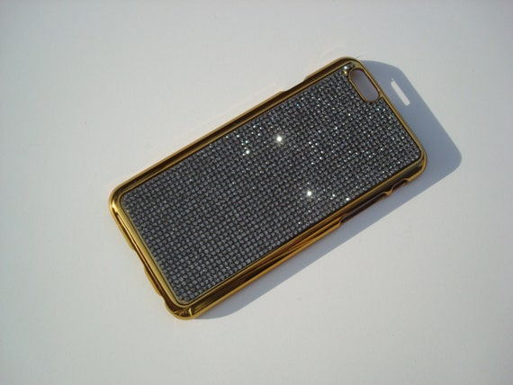 "iPhone 6 / 6s 4.7"" Black Diamond Rhinestone Crystals on Gold-Bronze Chrome Case Velvet/Silk Pouch Included, Genuine Rangsee Crystal Cases."