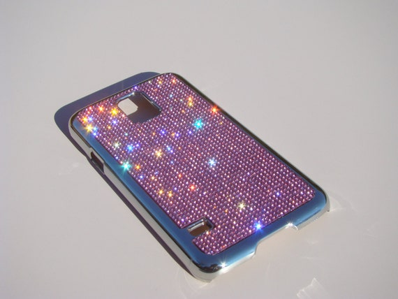 Galaxy S5 Pink Diamond Rhinestone Crystals on Silver Chrome Case. Velvet/Silk Pouch Bag Included, Genuine Rangsee Crystal Cases.