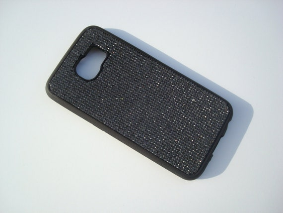 Galaxy S6 Back Diamond Crystals on Black Rubber Case. Velvet/Silk Pouch Bag Included, Genuine Rangsee Crystal Cases.