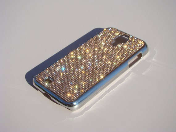 Galaxy S4 Rose Gold Rhinestone Crystals on Silver Chrome Case. Velvet/Silk Pouch Bag Included, Genuine Rangsee Crystal Cases.