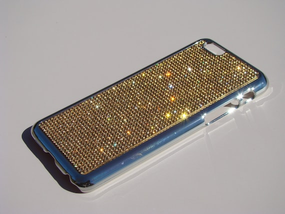 "iPhone 6 / 6s 4.7"" Gold Topaz Rhinestone Crystals on Silver Chrome Case. Velvet/Silk Pouch Bag Included, Genuine Rangsee Crystal Cases."