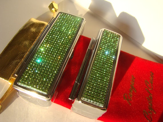 Lipstick Case with Mirror, Lipstick Box, Lipstick Holder, Green Peridot Rhinestone Crystals,  This listing are for one (1) case