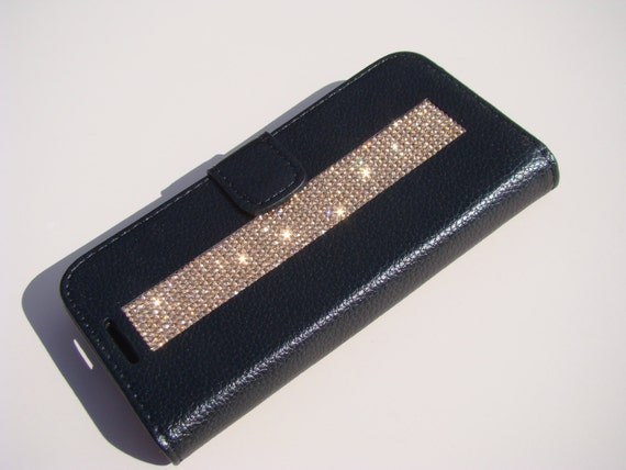 Galaxy S7 Wallet Case Rose Gold Diamond Crystals on Black Wallet Case. Velvet/Silk Pouch bag Included, Genuine Rangsee Crystal Cases.