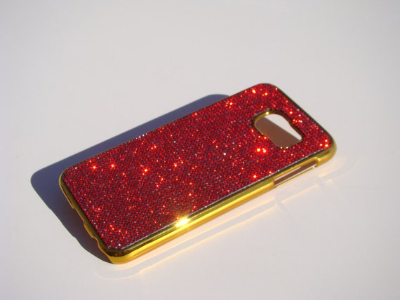 Galaxy S6 Red Siam Rhinestone Crystals on Gold-Bronze Chrome Case. Velvet/Silk Pouch Bag Included, Genuine Rangsee Crystal Cases.