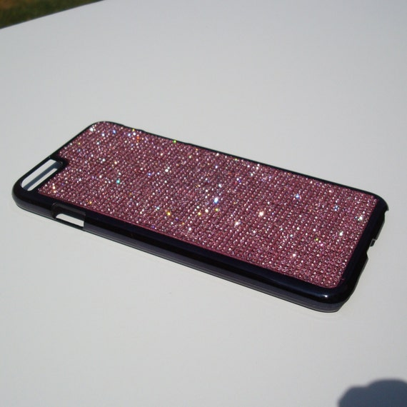 iPhone 6 Plus Case / iPhone 6s Plus Case  Pink Diamond Crystals on Black Chrome Case. Velvet/Silk Pouch Bag Included,