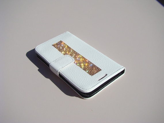 """Galaxy S6  """" Edge """" Rose Gold Rhinestone Crystals on White Wallet Case. Velvet/Silk Pouch bag Included, Genuine Rangsee Crystal Cases."""
