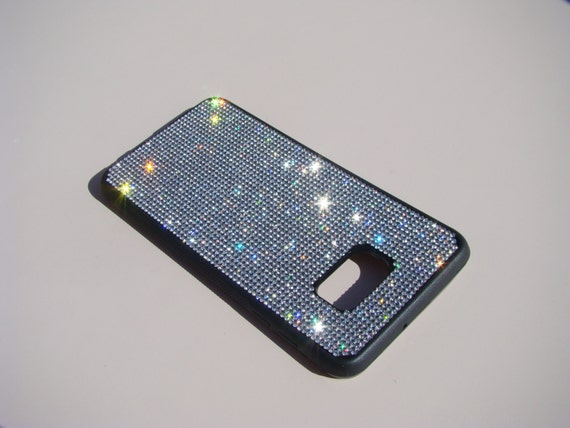 "Galaxy S6 ""Edge Plus"" Clear Diamond Crystals on Black Rubber Case. Velvet/Silk Pouch Bag Included, Genuine Rangsee Crystal Cases."