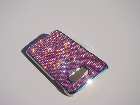 Galaxy S6 Pink Diamond Rhinestone Crystals on Silver Chrome Case. Velvet/Silk Pouch Bag Included, Genuine Rangsee Crystal Cases